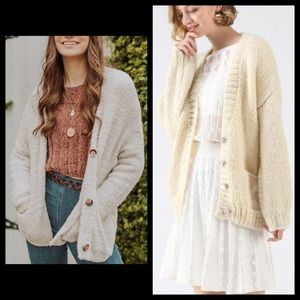 Anthro One Girl Who Ivory Knit Cardigan Sweater